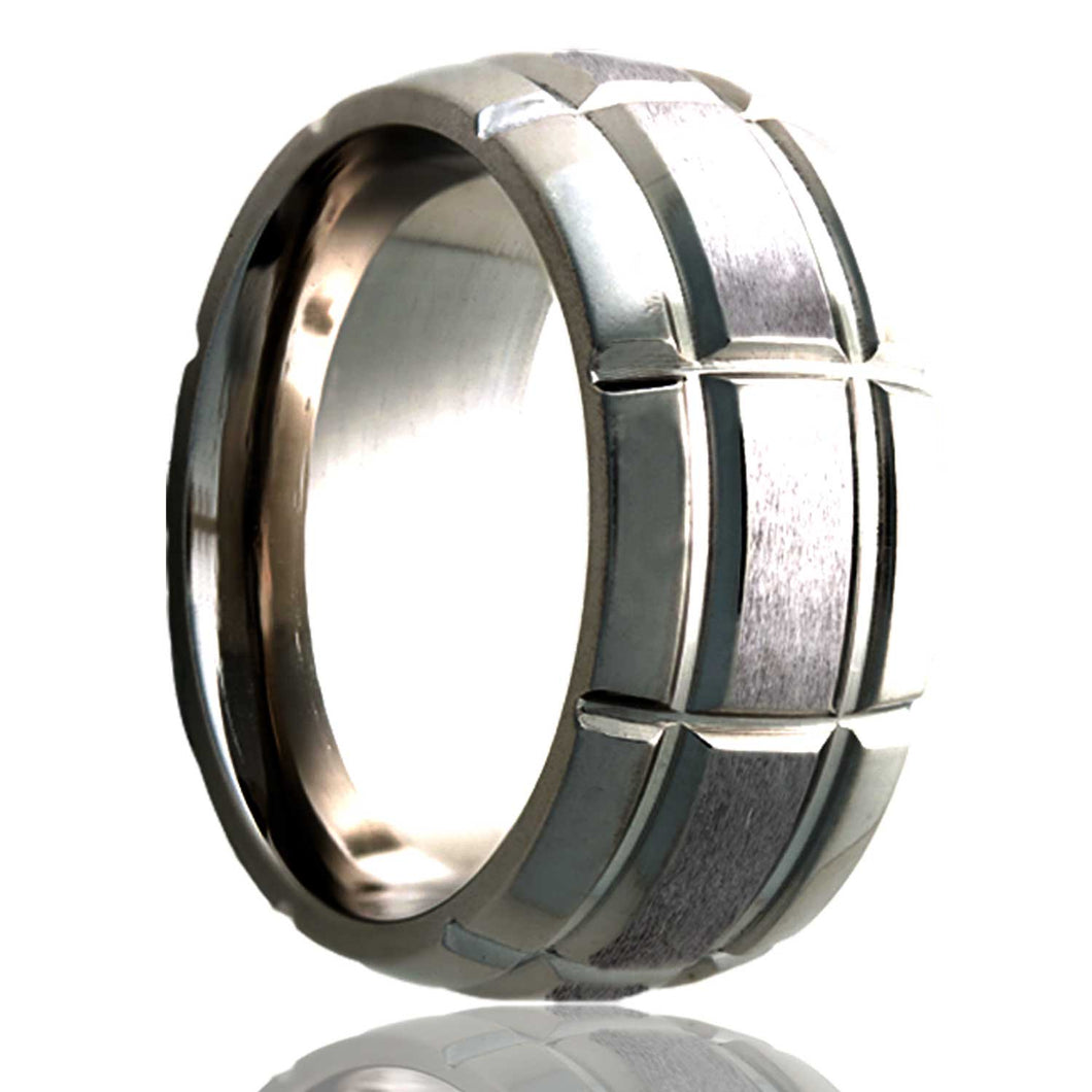 Dome Cobalt ring with a milled pattern and a satin finish Wedding Band-C111M5S