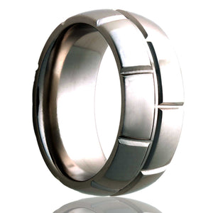 Dome Cobalt ring with a milled pattern Wedding Band-C111M8