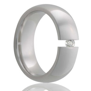 Dome Titanium tension set ring with a 3mm stone Wedding Band-TI111DT
