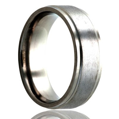 Step-edge-stainless-steel-ring-all-high-polish-edges-with-a-satin-top Wedding Band -S118-3