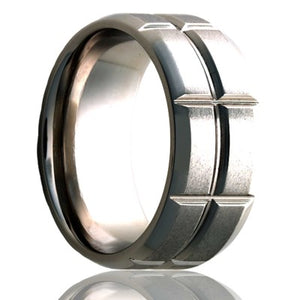 Beveled edge Cobalt ring with a milled pattern and a satin finish  Wedding Band-C125M23S