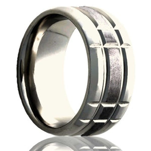 Beveled edge Cobalt ring with a milled pattern and a satin finish Wedding Band-C125M3S