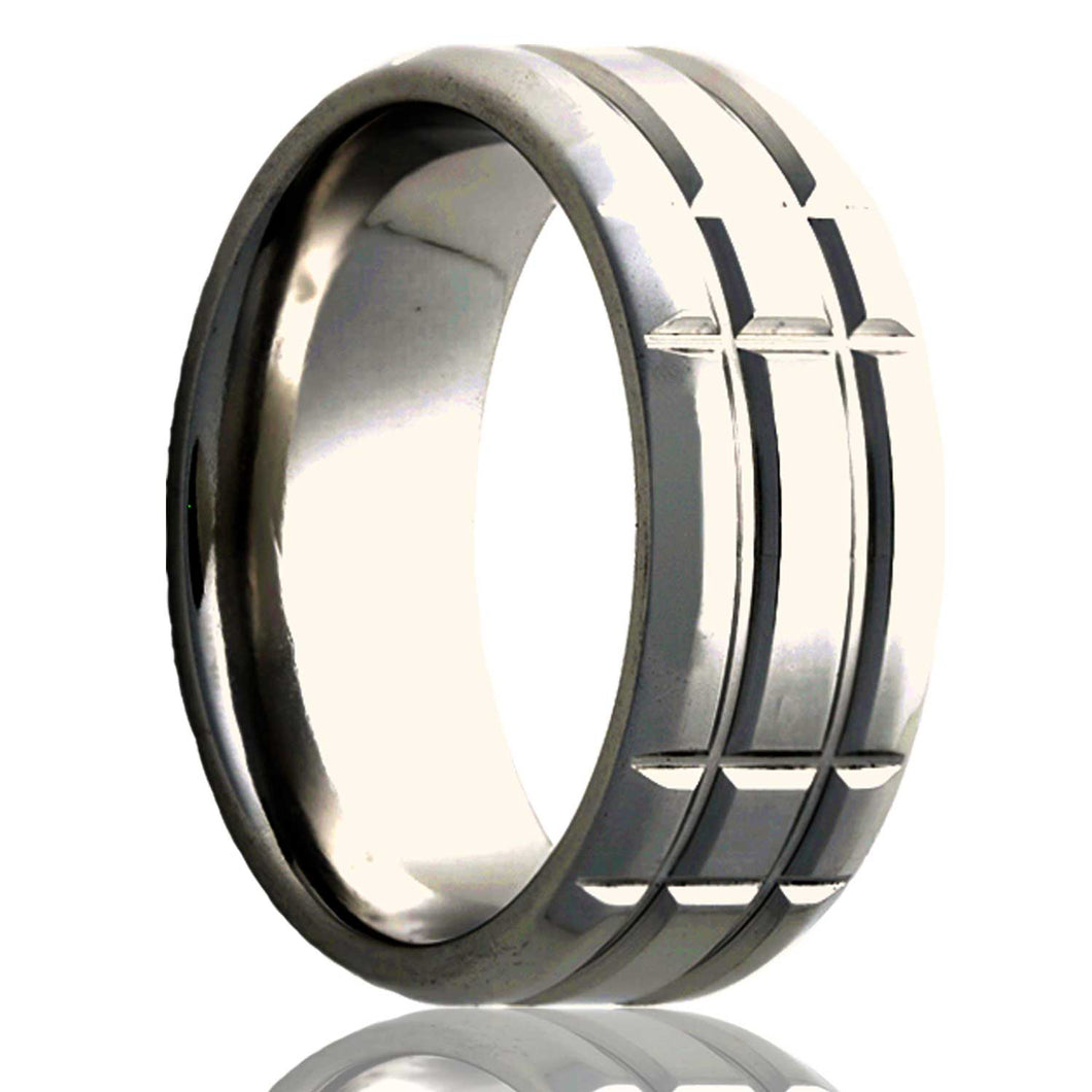 Beveled edge Cobalt ring with a milled pattern Wedding Band-C125M3