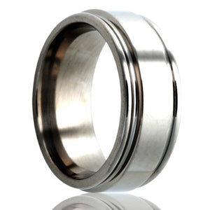 Deep-groove-stainless-steel-ring-polished Wedding Band -S127-3