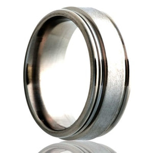 Deep-groove-stainless-steel-ring-polished-with-a-satin-finish-center Wedding Band -S128-3