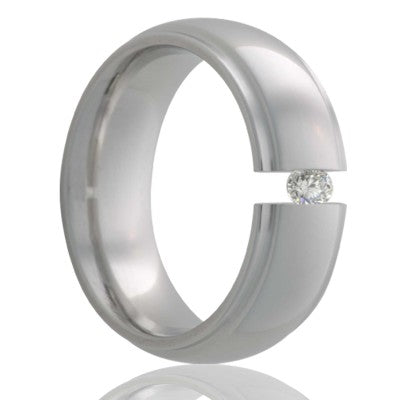Dome step edge Titanium tension set ring with a 3mm stone Wedding Band-TI154DT