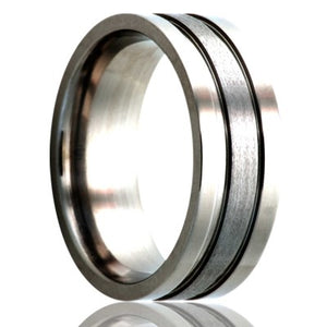 Flat Cobalt ring with two grooves and a satin finish center. Wedding Band-C162