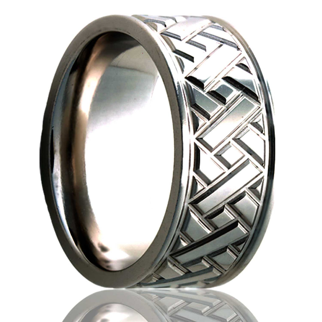 Flat Cobalt ring with a milled pattern. Wedding Band-C101M17