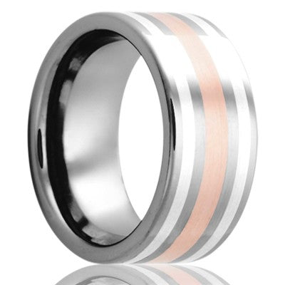 Flat Cobalt band, all high polish with a 2mm 14k rose gold inlay and two 1mm argentium silver inlays Wedding Band-C101SRS