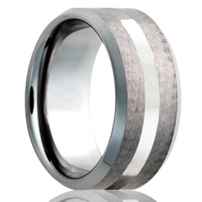 Beveled edge Tungsten Wedding Band-TU107PAL