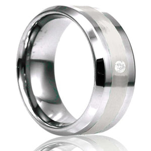 Beveled edge Tungsten Wedding Band-TU125D1PAL