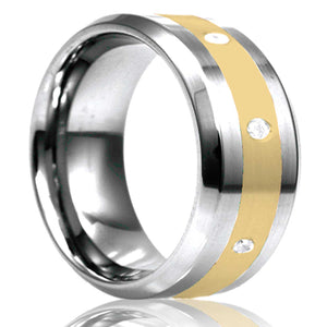 Beveled edge Tungsten Wedding Band-TU125D8Y