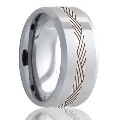 Beveled edge Tungsten band, all high polish with a 2mm argentium silver inlay that is deep engraved