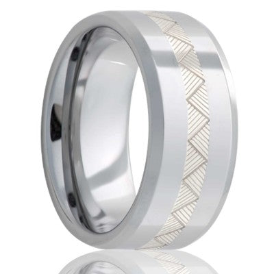 Beveled edge Tungsten Wedding Band-TU125SSB