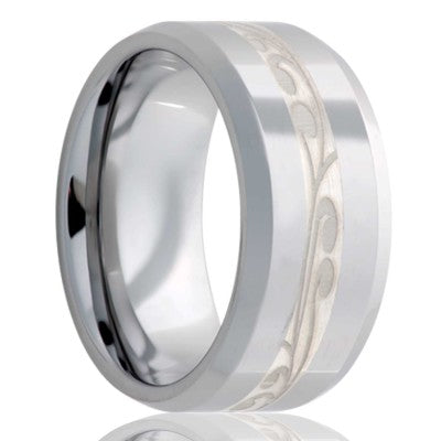 Beveled edge Tungsten Wedding Band-TU125SSC