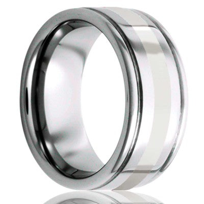 Deep grooved Tungsten Wedding Band-TU127PAL