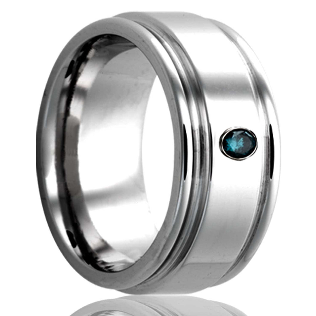 Deep groove Tungsten Wedding Band-TU127DBL1