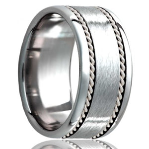 Flat Cobalt band, polished edges with a satin center and two hand woven 1mm platinum inlays Wedding Band-C145PT2