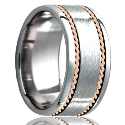 Flat Cobalt band, polished edges with a satin center and two hand woven 1mm 14k rose gold inlays Wedding Band-C145R2
