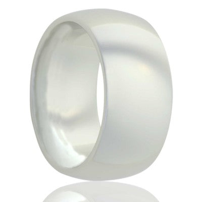Dome white ceramic ring all high polish Wedding Band-WC111