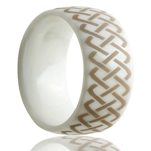 Dome white ceramic ring all high polish with a laser engraved pattern Wedding Band-WC111-Q