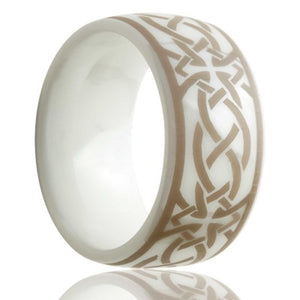 Dome white ceramic ring all high polish with a laser engraved pattern Wedding Band-WC111-T