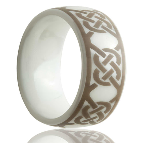Dome white ceramic ring all high polish with a laser engraved pattern Wedding Band-WC111-U
