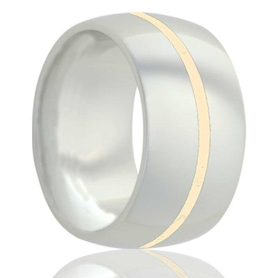 Dome white ceramic ring all high polish with 1mm 14k yellow gold Wedding Band-WC111Y