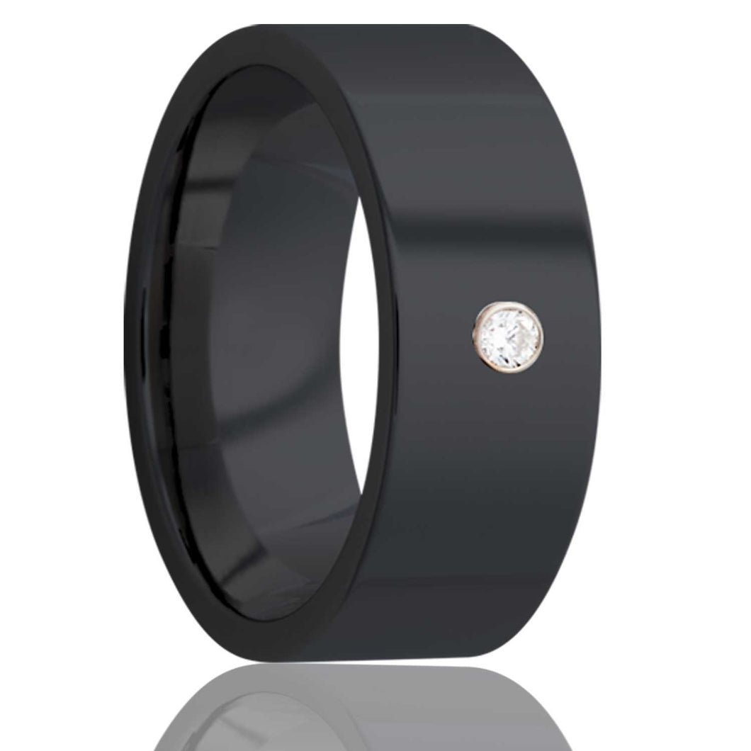Flat Zirconium band, all high polish, with a bezel set .06 G-H color SI1 Wedding Band-Z101D1