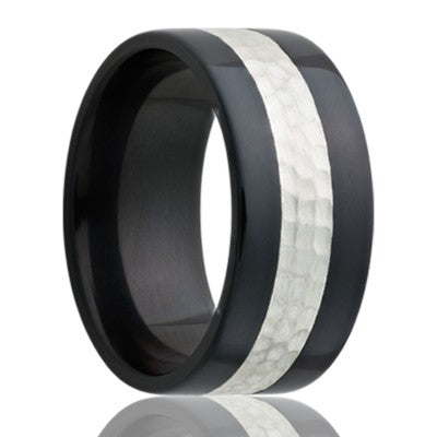Flat Zirconium Wedding Band-Z101SSHAMMER