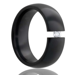 Dome  Zirconium tension set ring with a 3mm stone Wedding Band-Z111DT