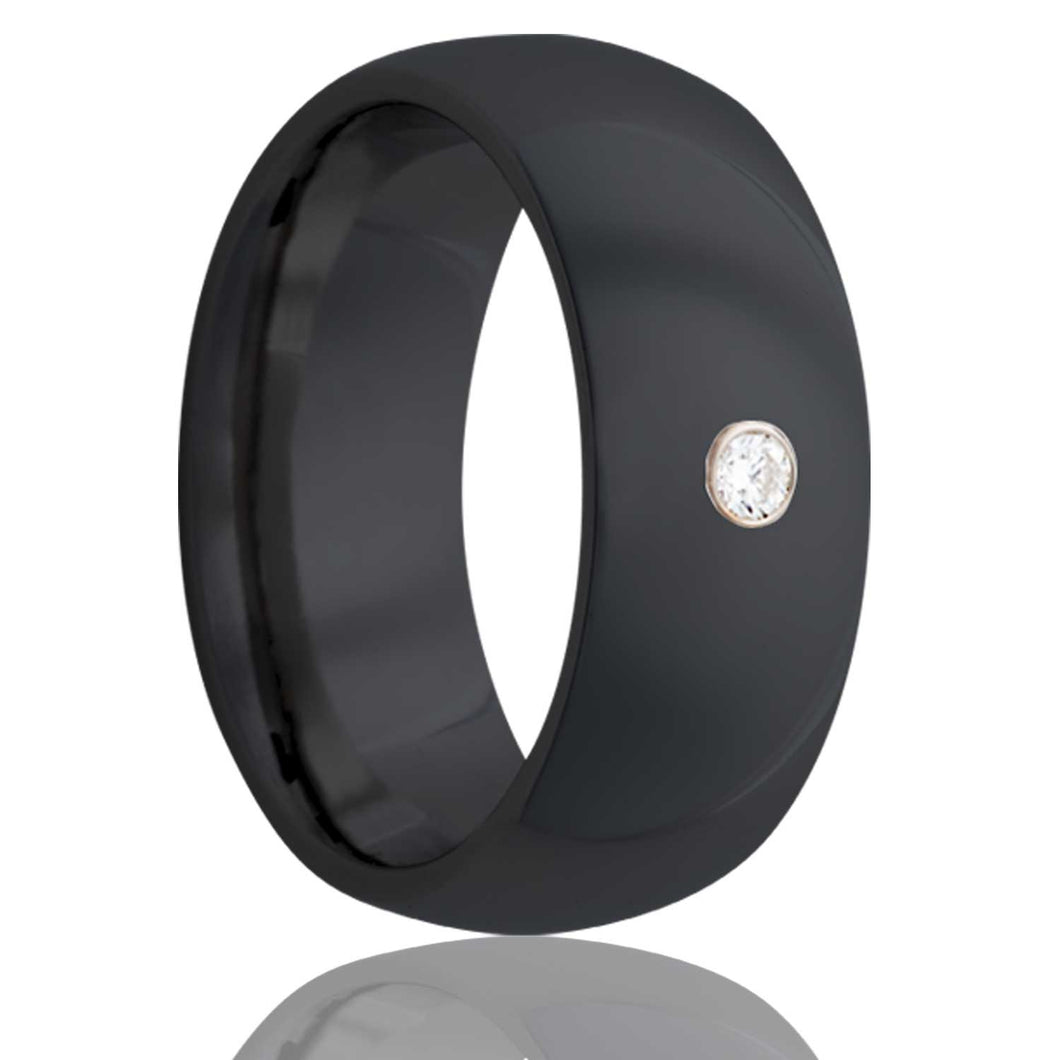 Dome Zirconium ring with a bezel set .06 G-H color SI1 Wedding Band-Z111D1
