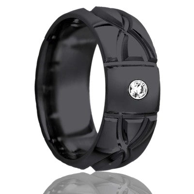 Dome Zirconium ring with a milled pattern Wedding Band-Z111M1D1