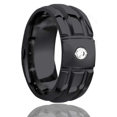 Dome Zirconium ring with a milled pattern Wedding Band-Z111M30D1