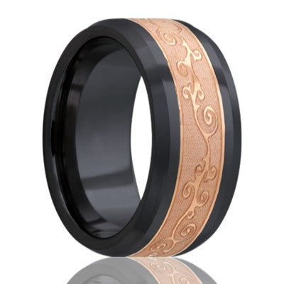 Beveled edge Zirconium Wedding Band-Z125CO4E