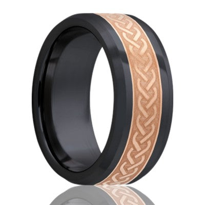 Beveled edge Zirconium Wedding Band-Z125CO4I