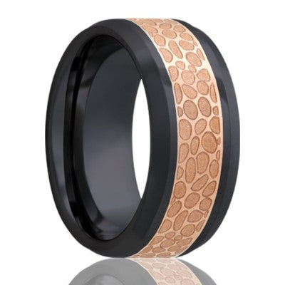 Beveled edge Zirconium Wedding Band With Copper Inlay