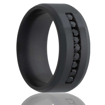 Beveled edge Zirconium Wedding Band-Z125DBK/Channel
