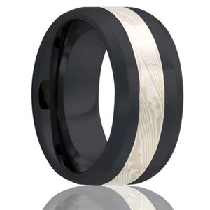 Beveled edge Zirconium Wedding Band-Z125W/SS