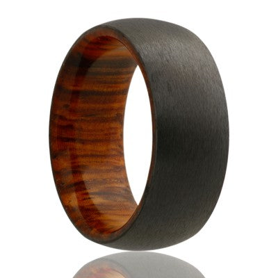 Dome zirconium band, satin finish with cocobolo wood Wedding band-ZWD133COCOBOLO