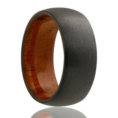 Dome zirconium band, satin finish with koa wood Wedding band-ZWD133KOA