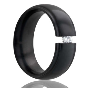 Dome step edge Zirconium tension set ring with a 3mm stone Wedding Band-Z154DT