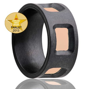 2013 Jewelers Choice Awards finalist! Flat Zirconium ring with cut out windows to reveal an inlay of 14k rose gold Wedding Band-Z198R