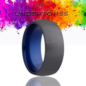 Dome Zirconium Wedding Band-ZA133BLUE