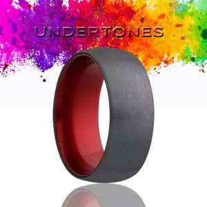 Dome Zirconium Wedding Band-ZA133RED