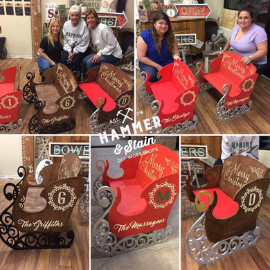 12/02/18 (4-6pm) Personalized Sleigh Bench