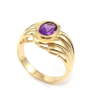 14K Yellow Gold Ring Size 6.5 Purple Amethyst Solitaire