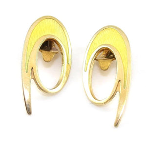 Vintage David Andersen Sterling Silver Modernist Yellow Enamel Clip On Earrings