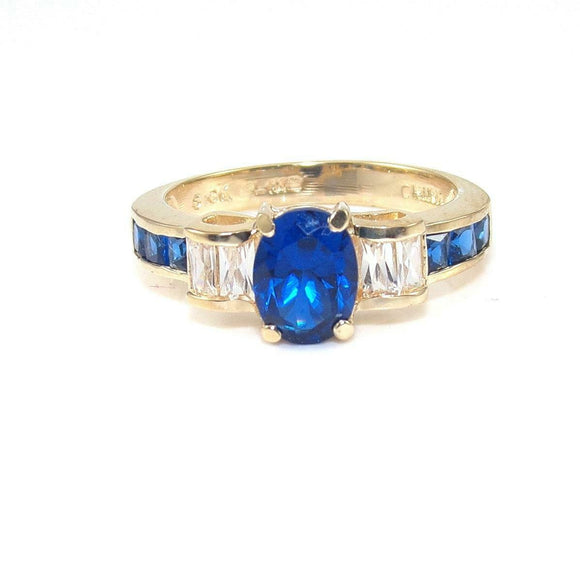10K Yellow Gold 2 1/4 ct Blue Spinel Clear CZ Ring Size 8.25, CMDSHINE