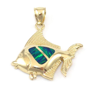14K Yellow Gold Pendant Blue Green Opal Tropical Fish